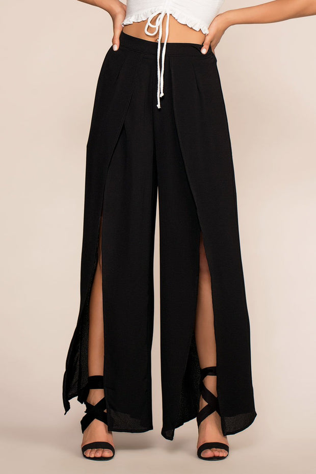 Pants - Waverly Breeze Front Slit Pants - Black