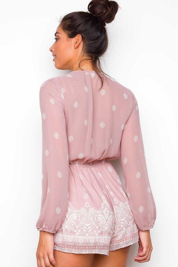 Pink Long Sleeve Print Romper