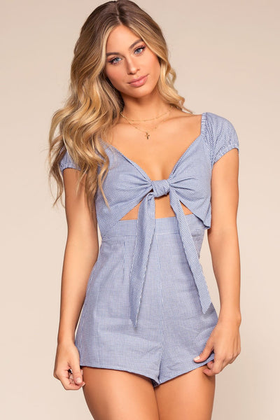 Blue Gingham Tie-Front Romper