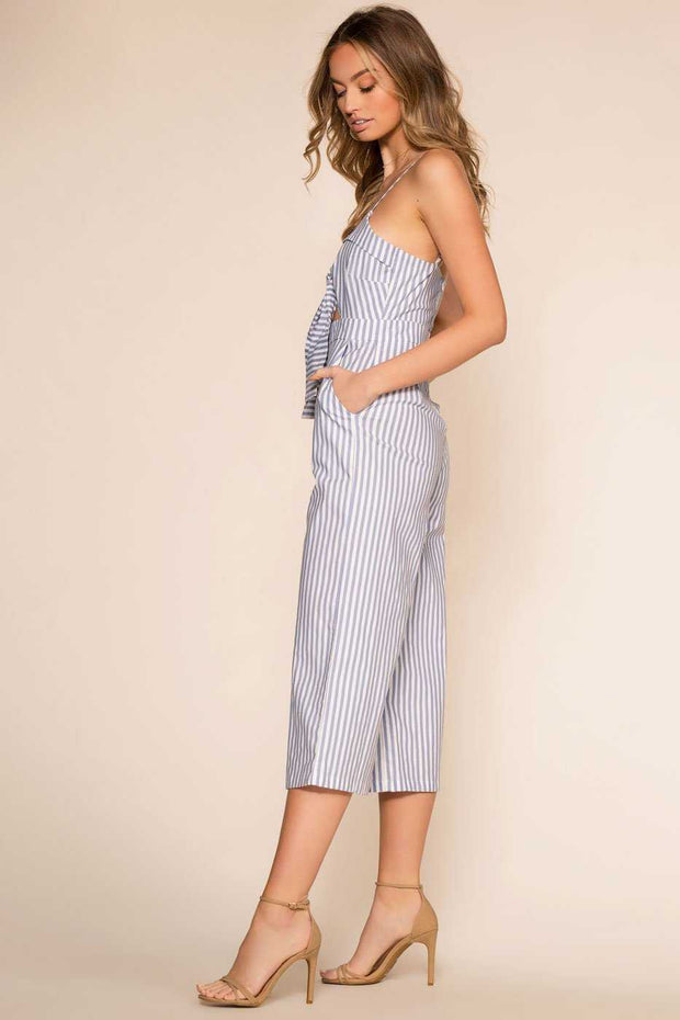Blue and White Striped Culotte Jumpsuit