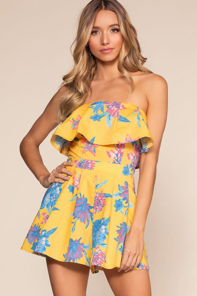 Rompers - Beneath The Palms Romper - Yellow
