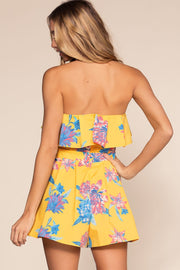 Yellow Strapless Floral Romper