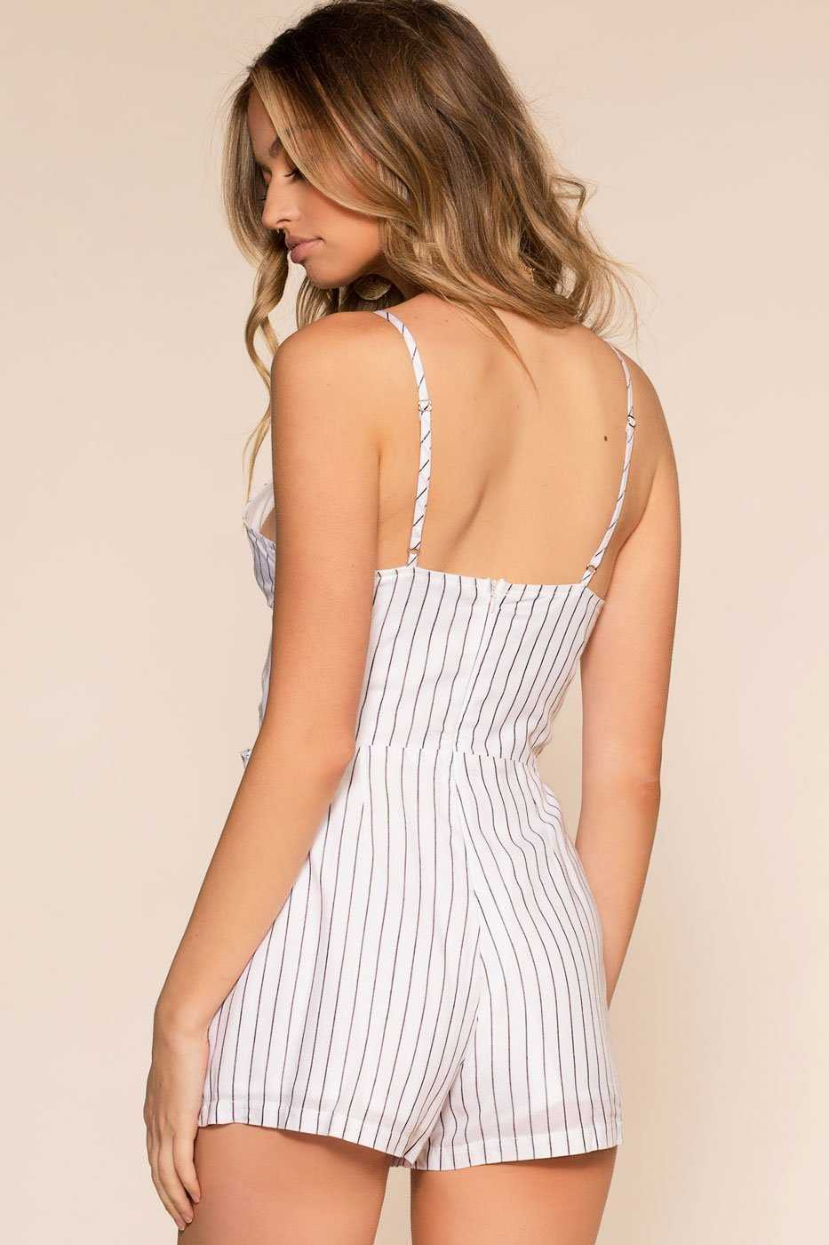 White Stripe Wrap Romper with V-Neck