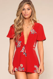 Red Romper with Deep V-Neck