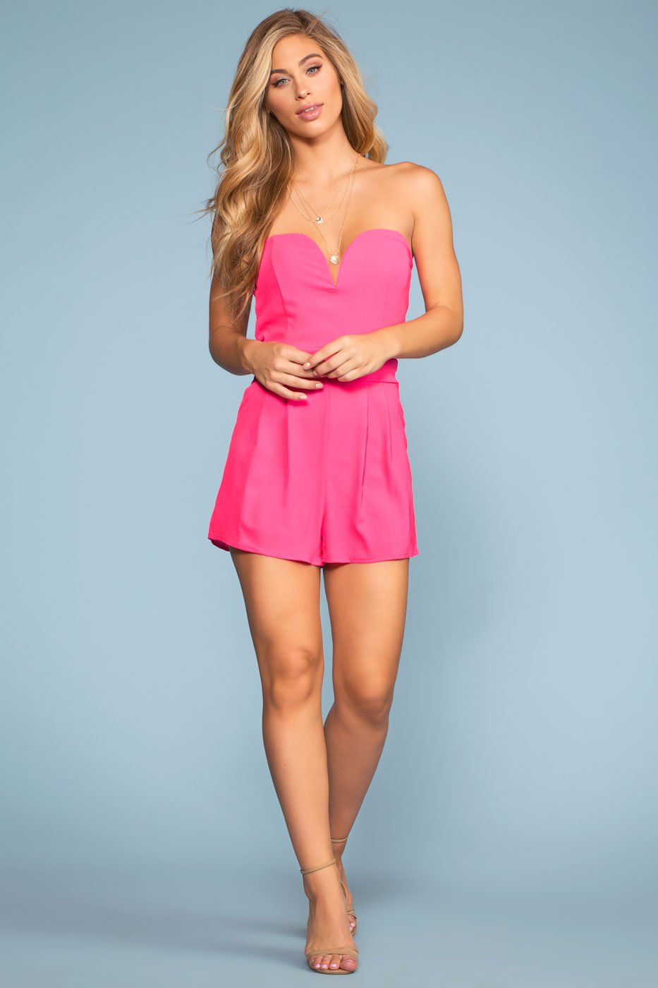 Rompers - Captured Off The Shoulder Romper - Fuchsia