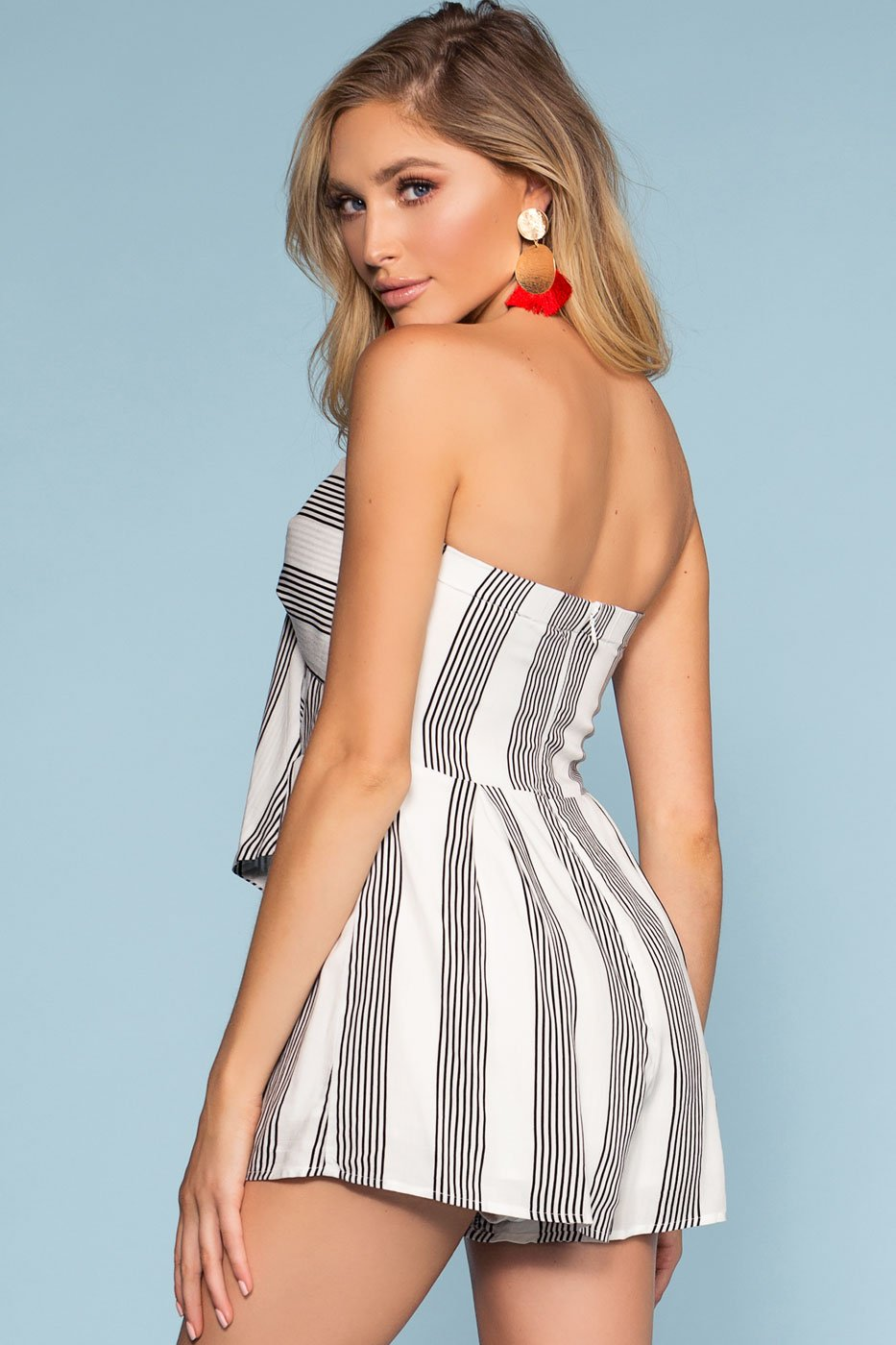 Rompers - Coronado Striped Off The Shoulder Romper