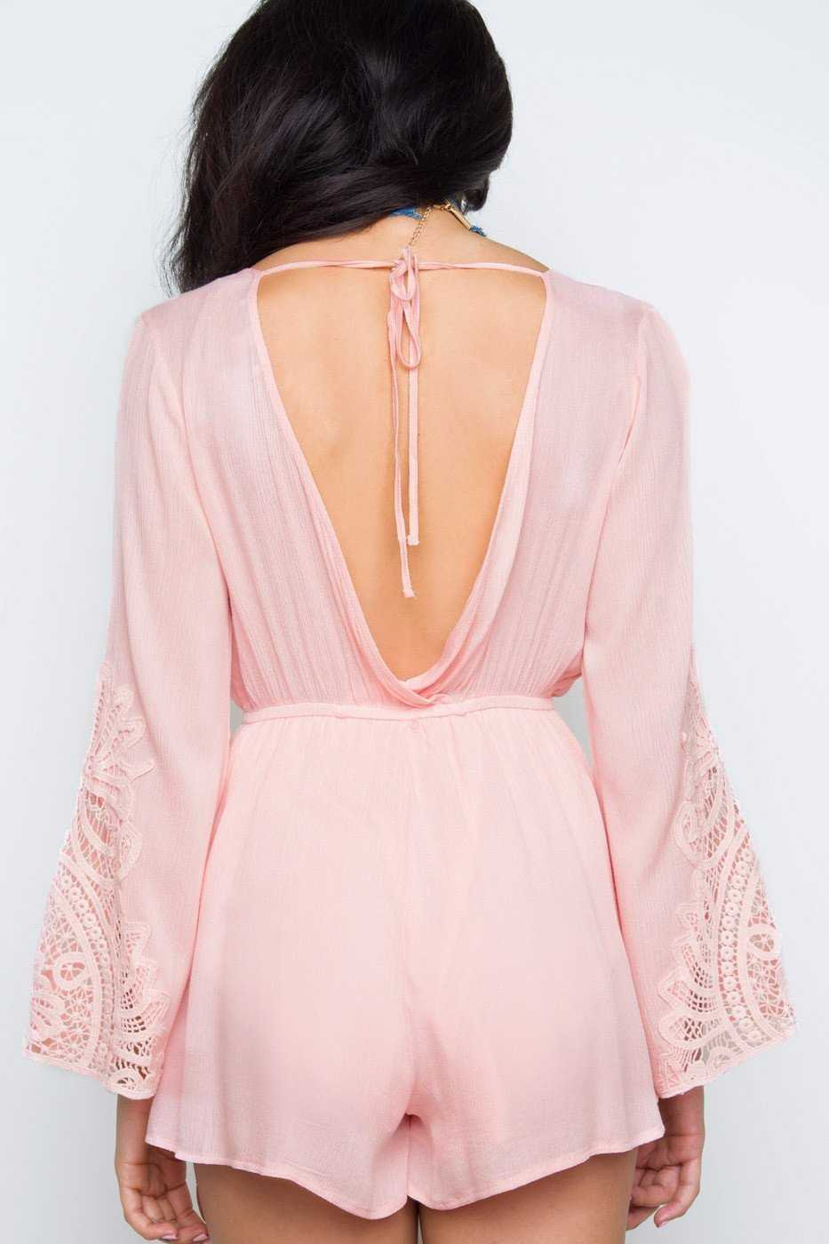 Rompers - Donna Lace Romper - Blush