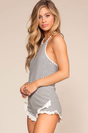 Black and White Striped Halter Romper
