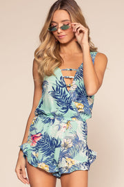 Blue Tropical Print Romper