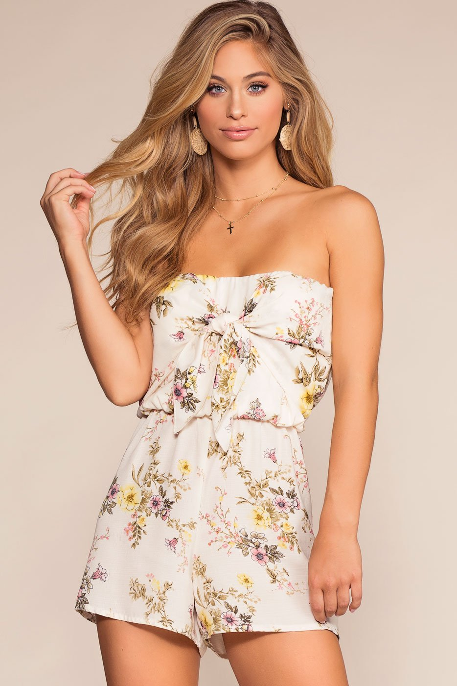 Rompers - Freesia Floral Romper - Ivory