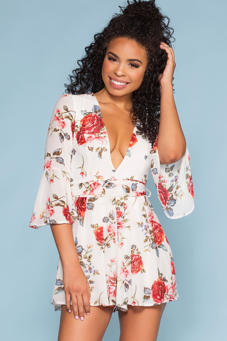 8935e38fc283 Lost Garden Floral Bell Sleeve Romper - Ivory