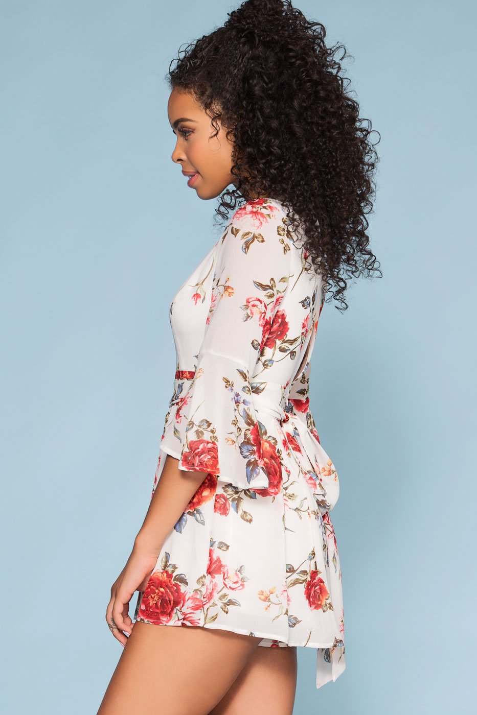 Rompers - Lost Garden Floral Bell Sleeve Romper - Ivory