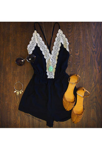 Rompers - Love Quest Lace Romper - Black