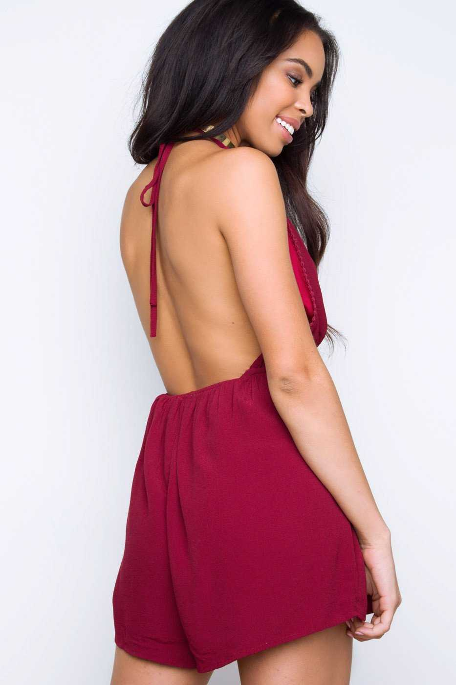 Rompers - Mary Jo Romper - Burgundy