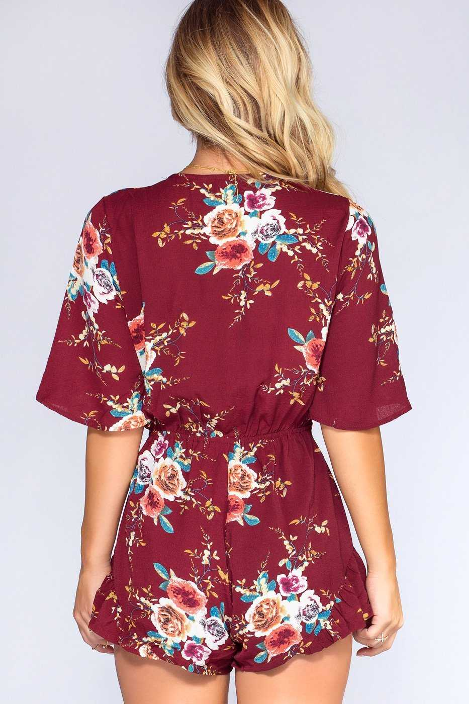 Rompers - Meadow Moments Romper - Burgundy