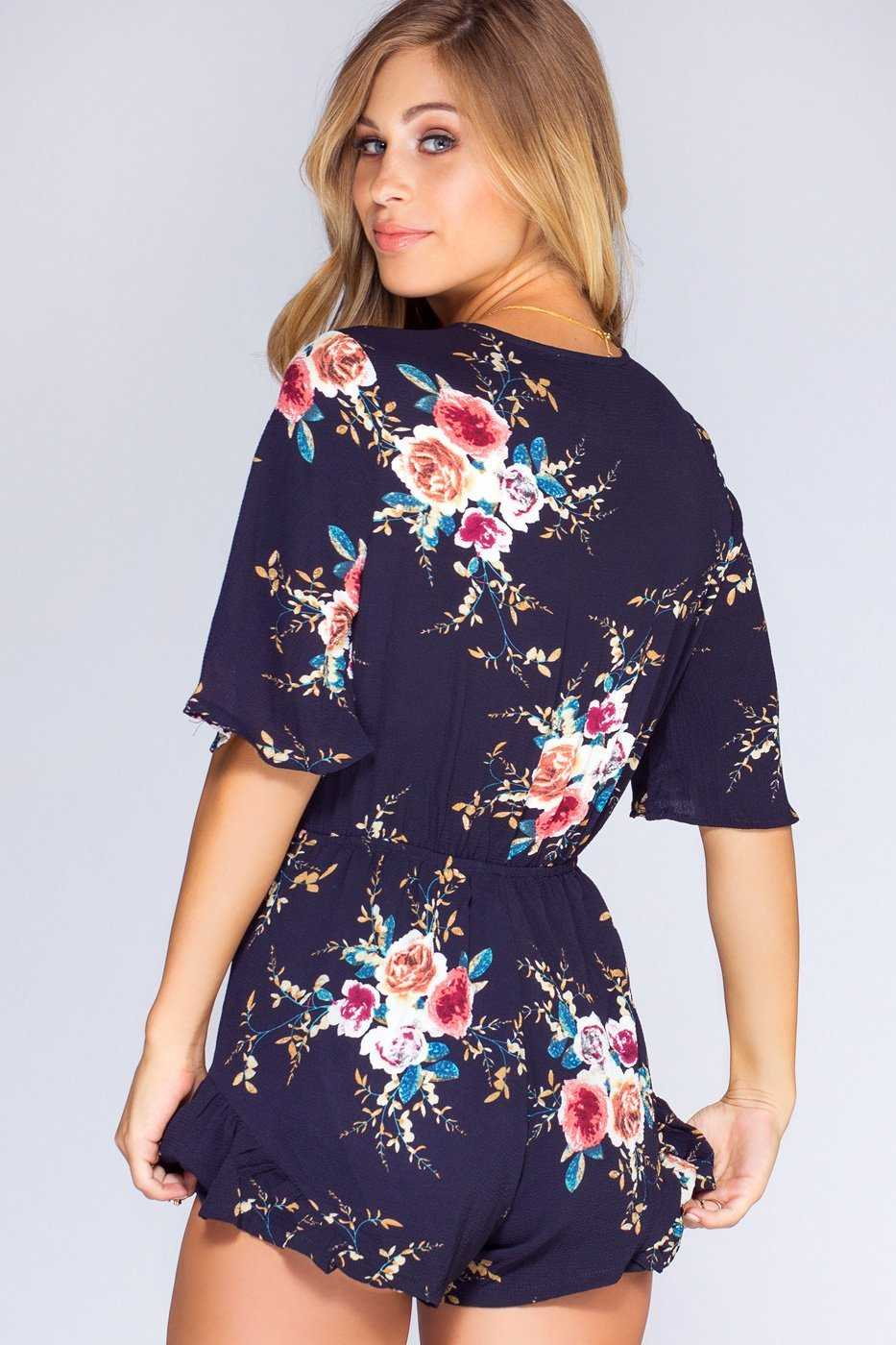 Rompers - Meadow Moments Romper - Navy