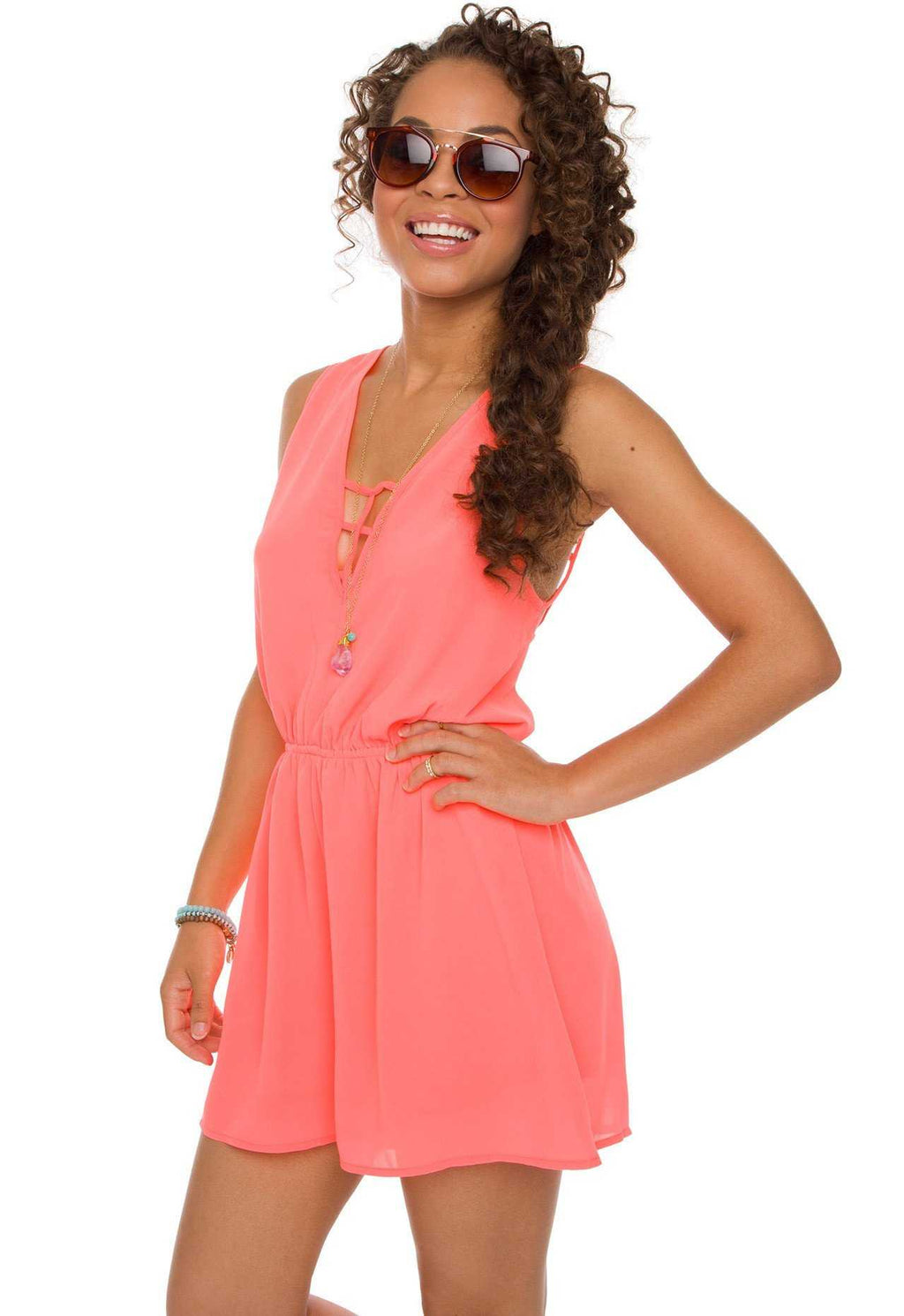 Rompers - Off The Grid Romper - Neon Coral