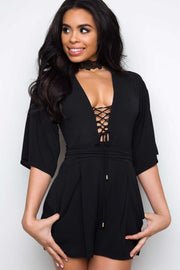 Rompers - On My Mind Lace Up Romper - Black