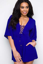 Rompers - On My Mind Lace Up Romper - Blue