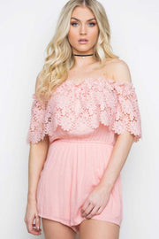 Rompers - Peony Lace Romper - Blush