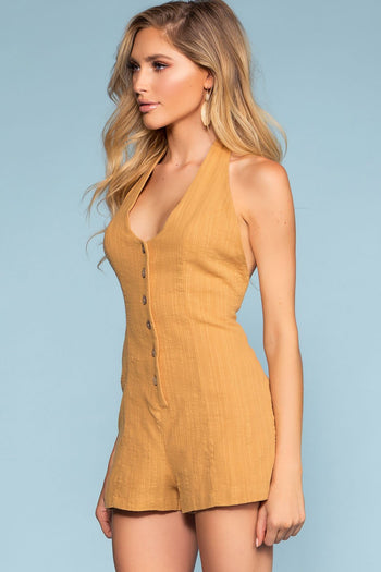 Rompers - Picnic Weekend Button-Up Romper
