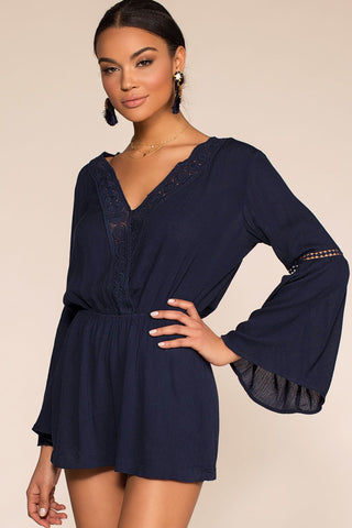 Tea And Biscuit Lace Romper - Navy