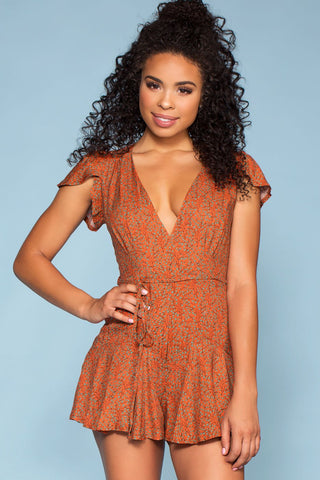 Leilani Tropical Romper - Red