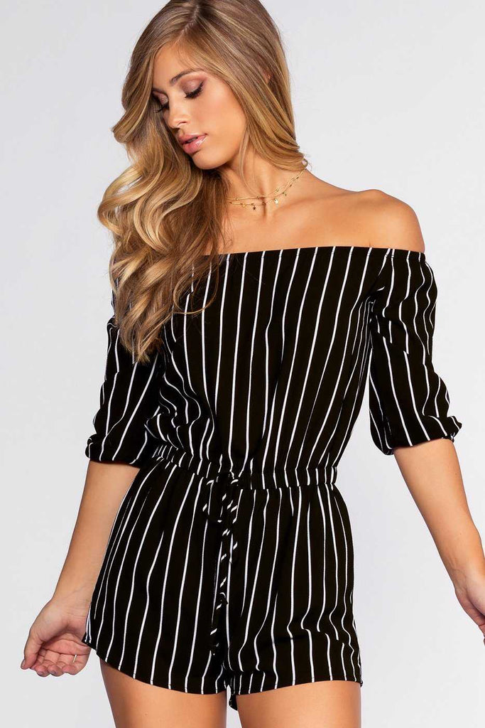 Rompers - Sizzlin' Off The Shoulder Romper - Black