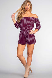 Rompers - Sizzlin' Off The Shoulder Romper - Plum