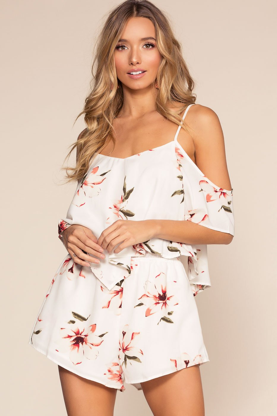 207cb4f0a0c0 Spring Oasis Floral Romper - Ivory | cozy casual