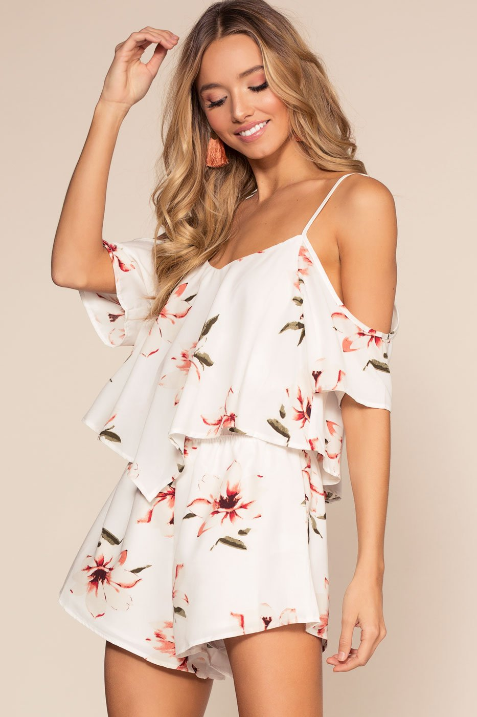 868617adc3e1 ... Rompers - Spring Oasis Floral Romper - Ivory ...