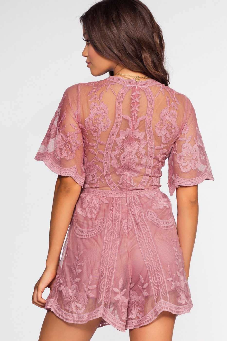 Rompers - Stella Lace Romper - Rose