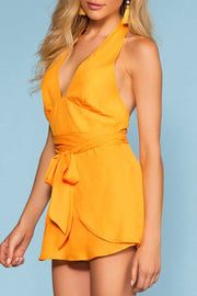 Summer Solstice Halter Romper - Yellow | Blue Blush