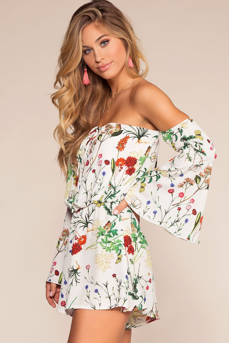 Rompers - Sunrise Floral Off The Shoulder Romper