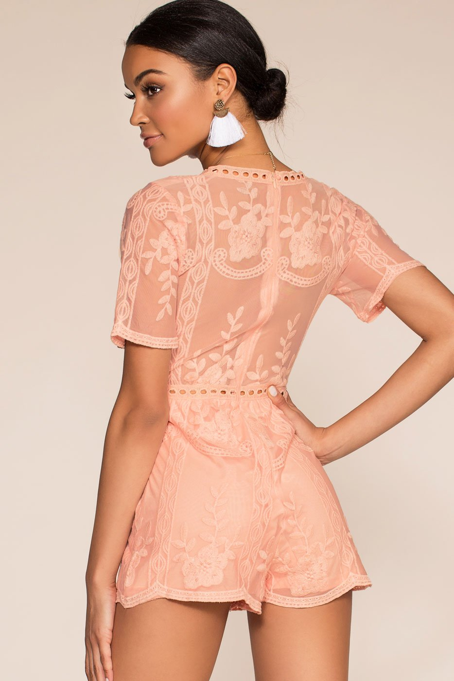 Rompers - Tea And Biscuit Lace Romper - Mauve