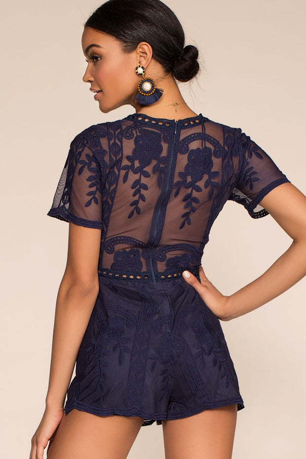 Rompers - Tea And Biscuit Lace Romper - Navy