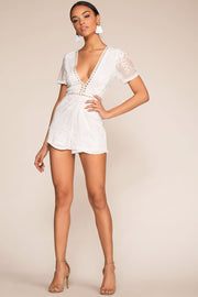 Rompers - Tea And Biscuit Lace Romper - White