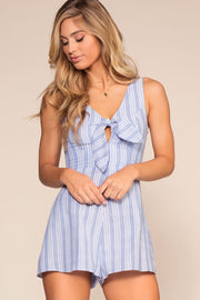 Rompers - There Goes My Baby Tie Front Stripe Romper