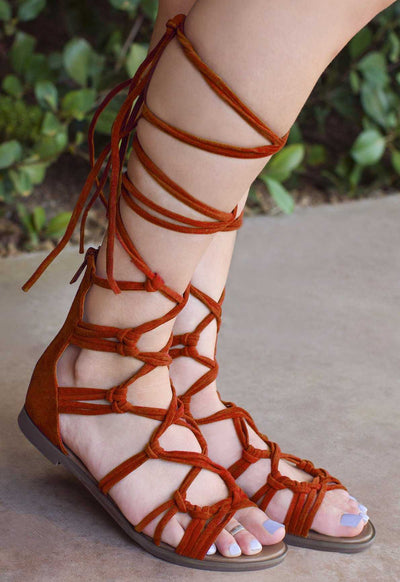 Rust Strappy Gladiator Sandals