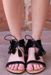 Sandals - Fia Fringe Sandals - Black