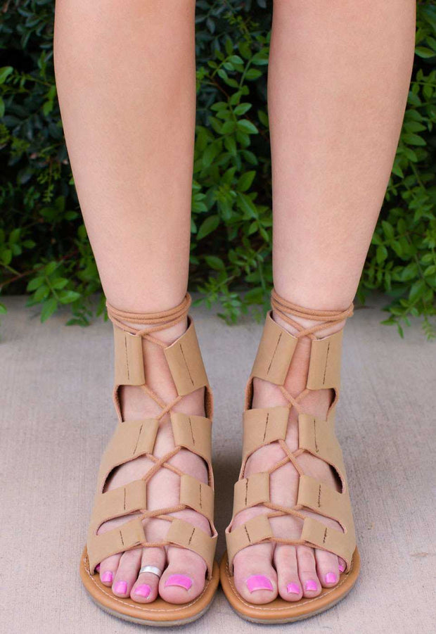 Sandals - Marielle Lace Up Sandals - Tan