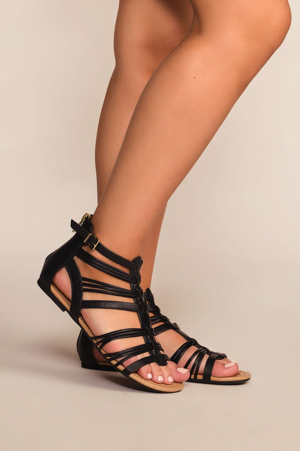 Sandals - Riko Gladiator Sandals - Black