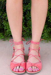 Sandals - Taylor Lace Up Sandals - Blush