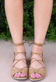 Sandals - Taylor Lace Up Sandals - Tan