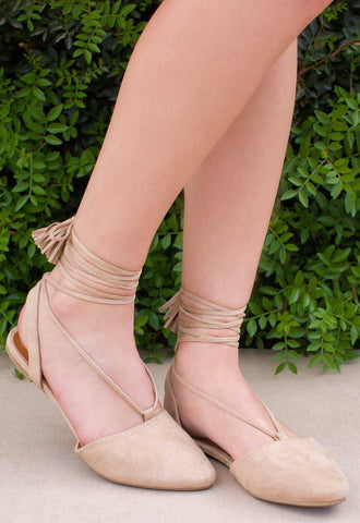 Babette Lace Up Flats - Tan