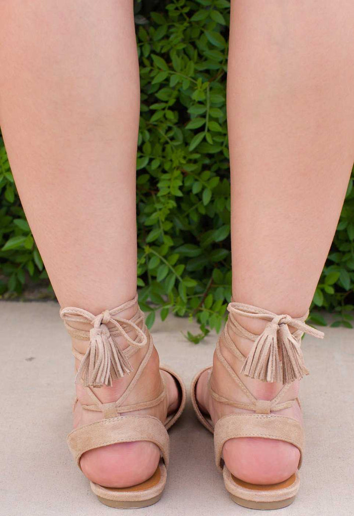 Shoes - Antonia Lace Up Flats - Beige