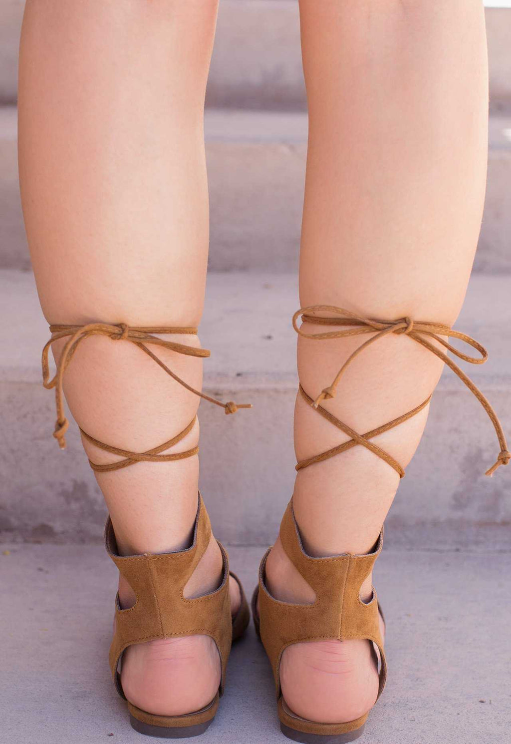 Shoes - Babette Lace Up Flats - Tan