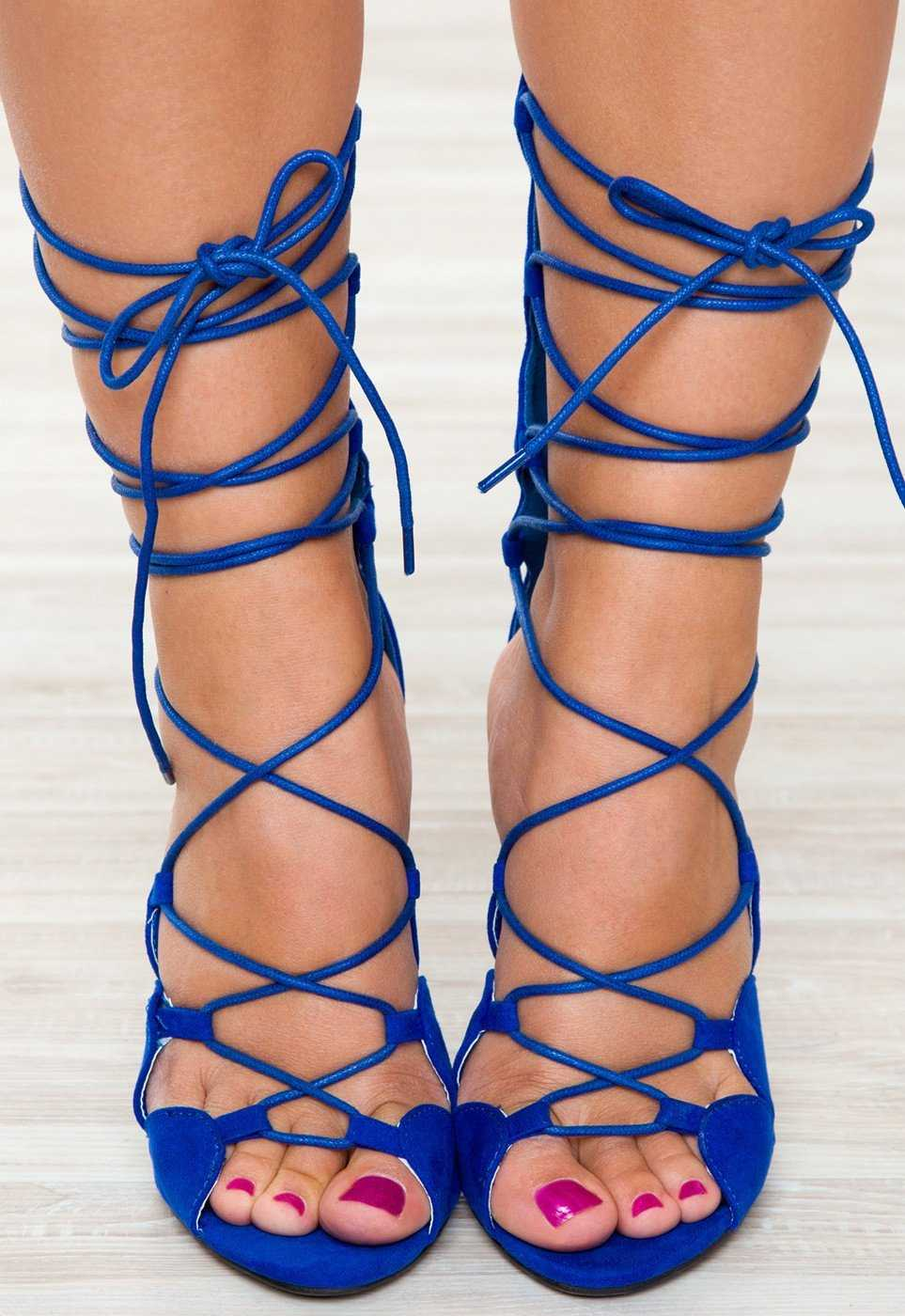 Shoes - Can't Even Lace Up Heels - Blue