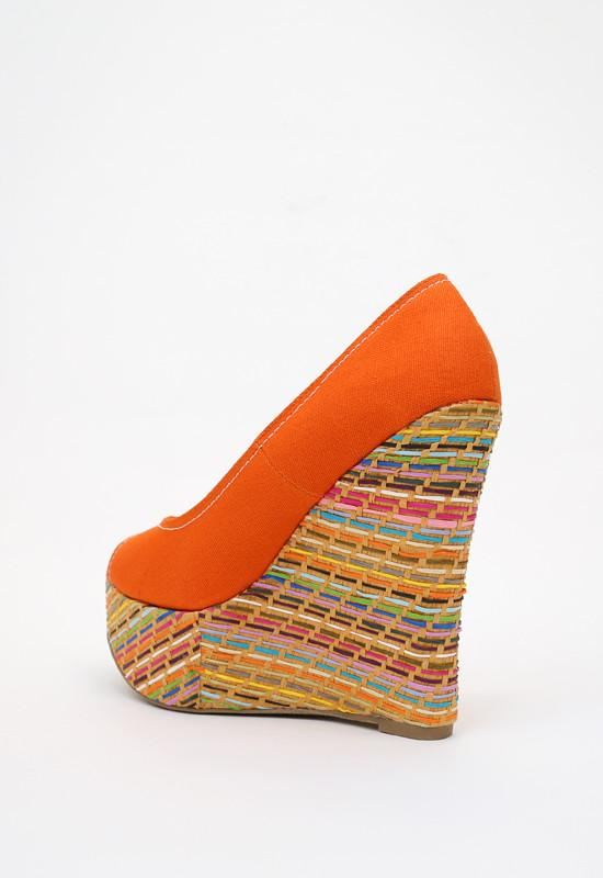 Shoes - Canvas Cotton Wedge - Orange