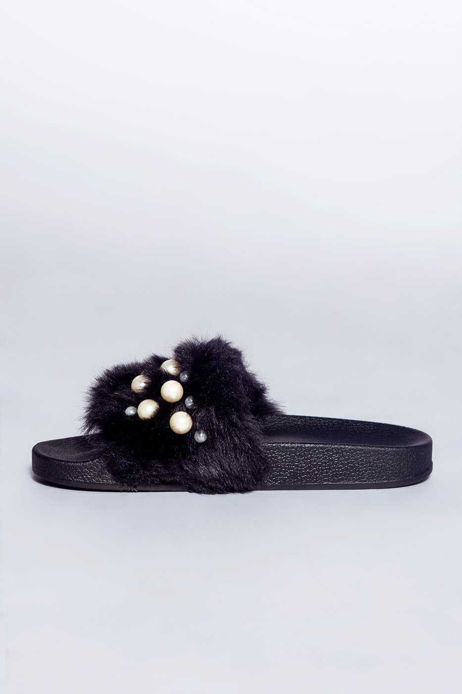 Shoes - Chanell Fur Slides - Black